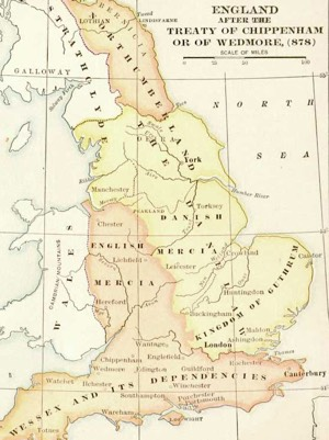 Map of England in early Middle Ages